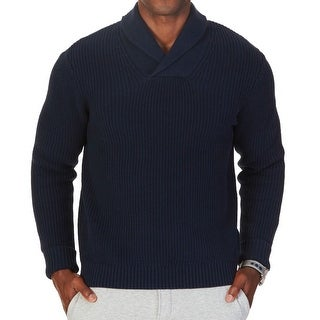 Nautica NEW Blue Mens Size Medium M Shawl Collar Ribbed Knit Sweater