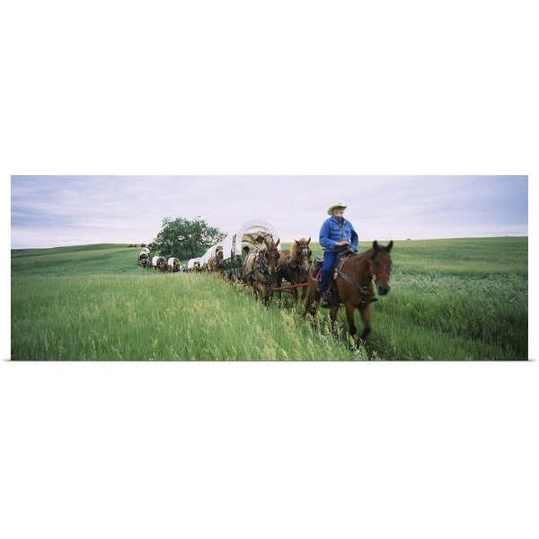 Poster Print entitled Historical reenactment of covered wagons in a field, North Dakota - Multi-color