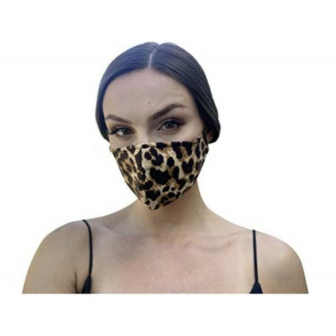 Reusable Women's Fashion Cloth Face Mask with Adjustable Straps, Leopard