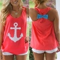 Anchor Print Womens Summer Casual Sleeveless Blouse Tank Tops T-Shirt Tee - Thumbnail 5