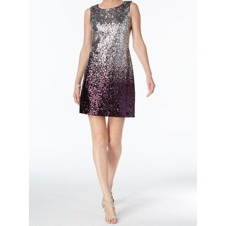 Vince Camuto Silver Womens Size 16 Ombre Sequin A-Line Dress