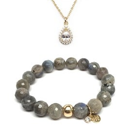 "Julieta Jewelry Set 10mm Grey Labradorite Emma 7"" Stretch Bracelet & 12mm Teardrop CZ Charm 16"" 14k Over .925 SS Necklace"