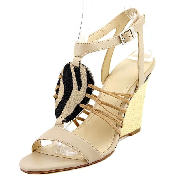 Calvin Klein Marion Women Open Toe Leather Wedge Heel