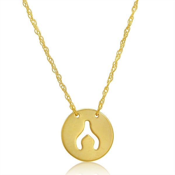 Amanda Rose 14k Yellow Gold Wishbone Disc Necklace on an Adjustable 16-18 in. Chain