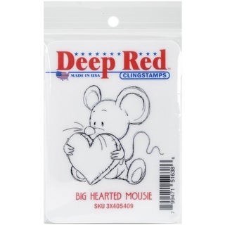 Deep Red Stamps Big Heart Mousie Rubber Cling Stamp - 2 x 2