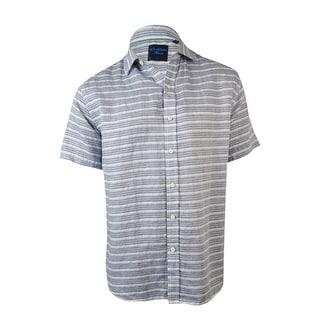 Caribbean Men's Striped Linen Cotton Blend Shirt