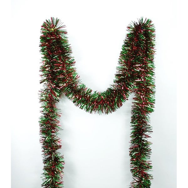 50' Festive Shiny Red and Green Christmas Tinsel Garland - Unlit - 6 Ply