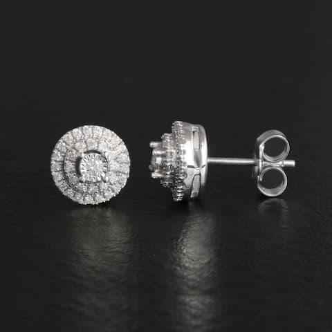De Couer 1/4ct TDW Diamond Halo Stud Earrings in Silver
