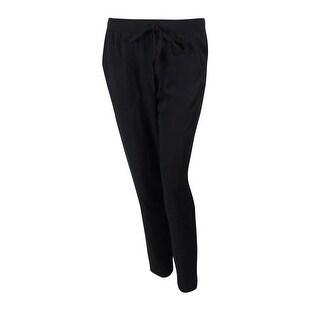 Studio M Women's Elaine Solid Pull-On Drawstring Pants - Black - S