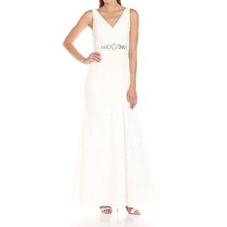 Adrianna Papell White Womens Size 8 Chiffon Petal Gown Dress