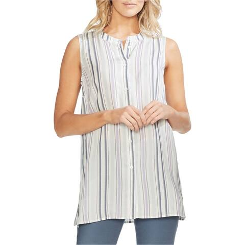 Vince Camuto Womens Sleeveless Button Down Blouse, Multicoloured, X-Large