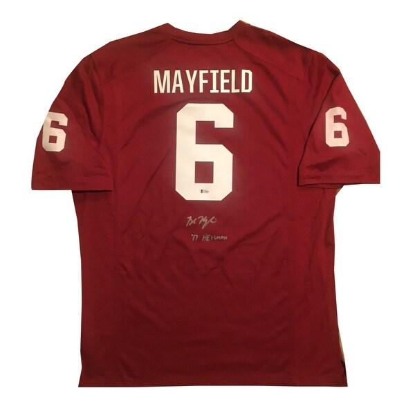 9e06280af Baker Mayfield Autographed Oklahoma Sooners 2017 Heisman Trophy Signed Nike Football  Jersey Beckett