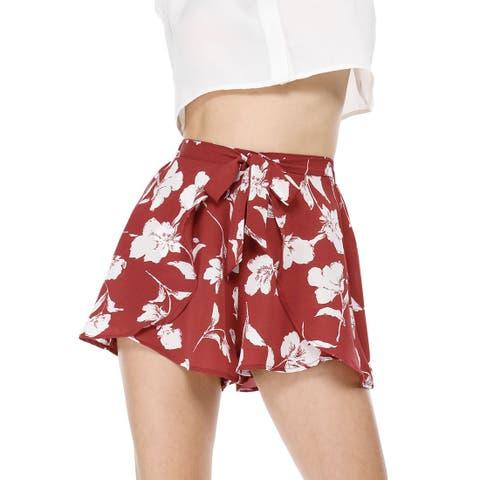 Women's Casual Elastic Waist Summer Beach Floral Shorts