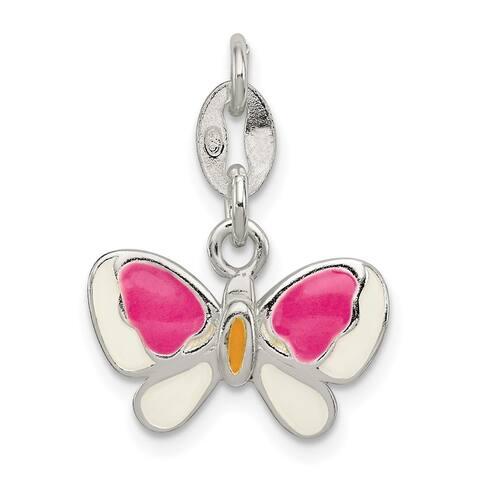 925 Sterling Silver Enamel Butterfly Pendant