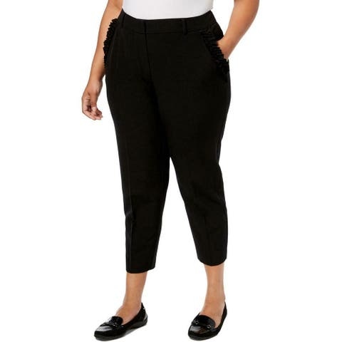 NY Collection Womens Dress Pants Black Size 2X Plus Ruffle Stretch