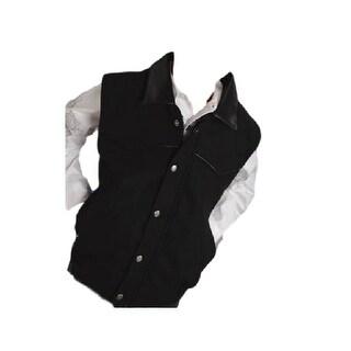 Roper Western Vest Boys Kid Zip Faux Leather Black 03-094-0545-0250 BL