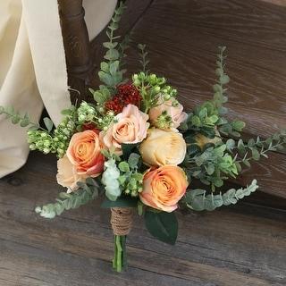 Wedding Bouquet Yellow Champagne Rose Bridal Bouquet - Orange
