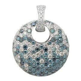 Beautiful 2.19 Carat Real Blue Color Diamond With Diamond Designer Pendant, 14k White Gold