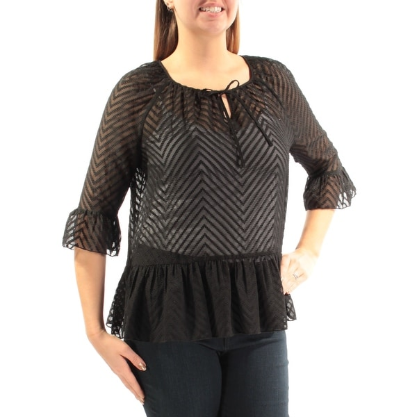 6988305f11 Shop KENSIE Womens Black Sheer W o Cami Bell Sleeve Keyhole Top Size  L -  Free Shipping On Orders Over  45 - Overstock.com - 21352991
