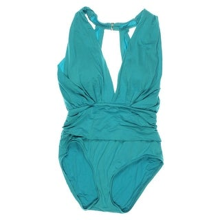 Badgley Mischka Womens Shirred One-Piece Swimsuit - 14