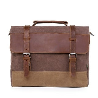 Link to TSD Brand Stone Creek Waxed Canvas Briefcase Similar Items in Messenger Bags