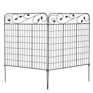 Link to Costway 2PC Decorative Garden Fence 52'' x 6' Black Coated Steel - See Description Similar Items in Garden Accents