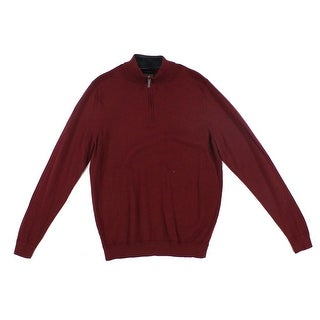 John W. Nordstrom NEW Red Burgundy Mens Size Large L 1/2 Zip Sweater