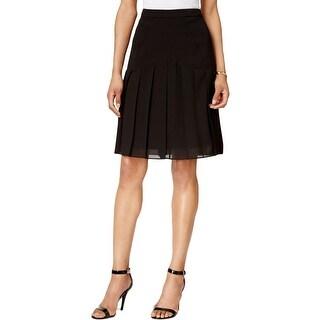 Kasper Womens Petites A-Line Skirt Chiffon Pleated