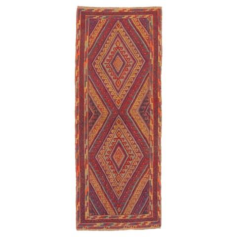 ECARPETGALLERY Hand-knotted Tajik Caucasian Dark Red Wool Rug - 2'4 x 6'2