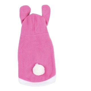 Pink White imitated rabbit Design Single Breasted Hooded Puppy Dog Clothes Coat Size S