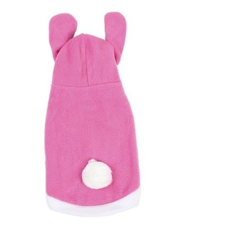 Pink White imitated rabbit Style Single Breasted Hood Puppy Dog Clothes Vest Coat Size L