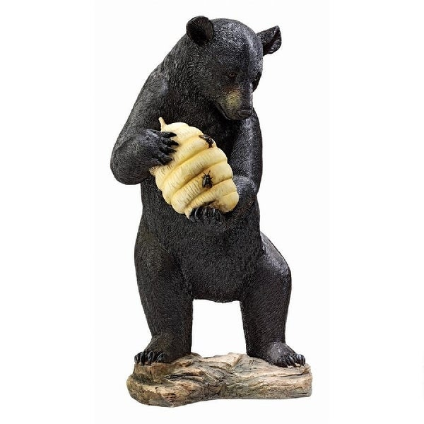 "29.5"" Black Bear and Beehive Piped Outdoor Statue - N/A"
