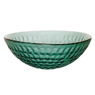 Glass Vessel Sink with Drain Emerald Green Tempered Glass Round Bowl Sink