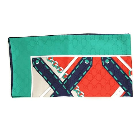 Gucci Women's Flame / Dark Green Silk With Chain Argyle Print Scarf 544618 6566 - One Size