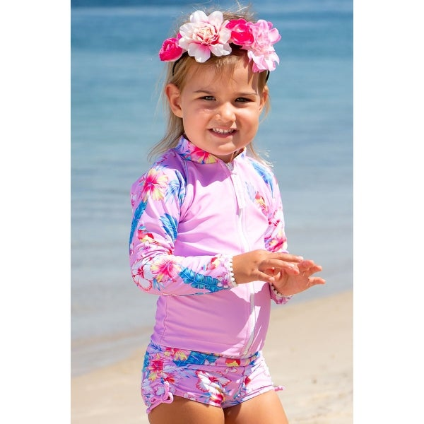 Sun Emporium Paradise Print Zip Long Sleeve Jacket Boyleg Set Baby Girls. Opens flyout.