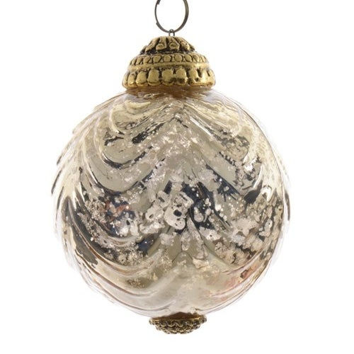 Mercury Glass Ball with Gold Top