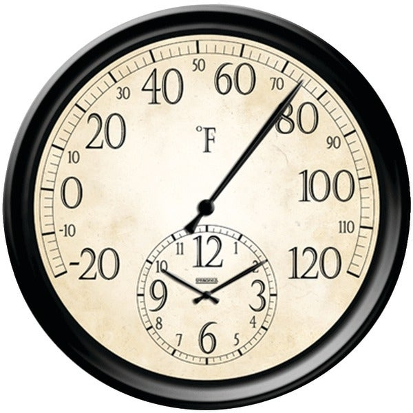 """Taylor 91575 14"""" Decorative Thermometer With Clock"""