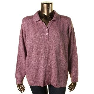 Karen Scott Womens Plus Marled Collared Henley Sweater