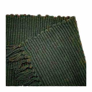 Rectangular Area Rug 9' x 6' Green Cotton