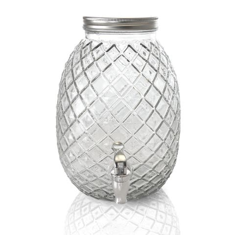 1.2 Gallon Pineapple Clear Glass Drink Dispenser