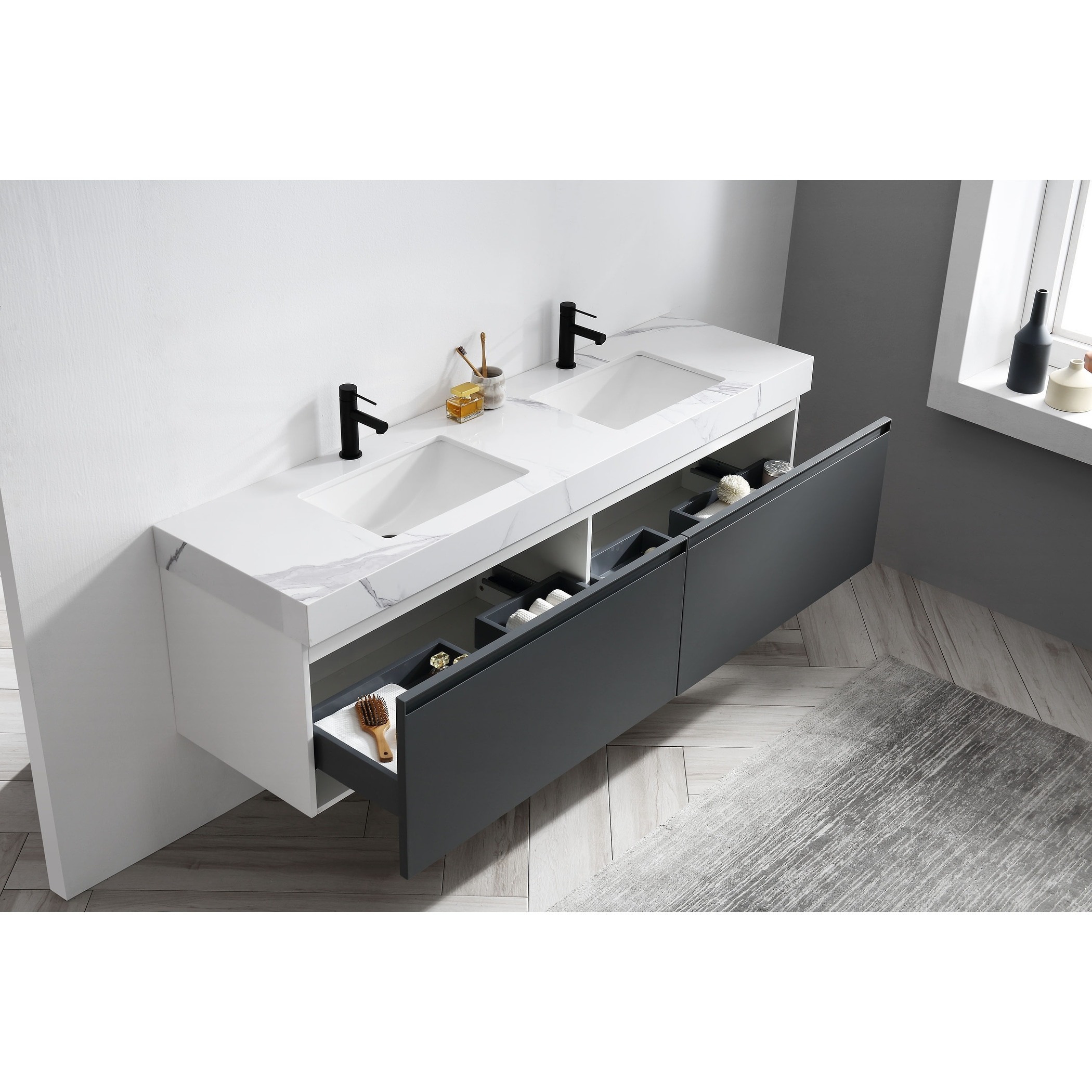 Maos 72 Dark Gray Navy Blue Wall Mount Modern Bathroom Vanity Set On Sale Overstock 31276125
