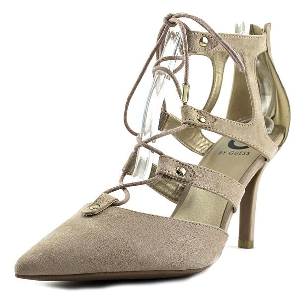 G By Guess Krona Women Pointed Toe Canvas Tan Heels