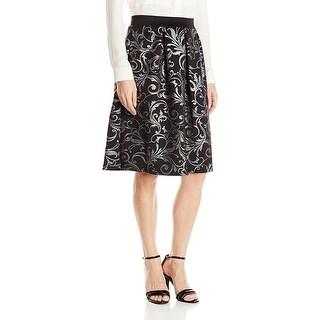 NY Collection Metallic Brocade Flared Skirt