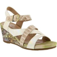 L'Artiste by Spring Step Women's Leanna Strappy Sandal Beige Leather