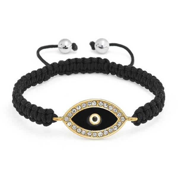 Gold Plated Evil Eye Crystal Shamballa Inspired Bracelet