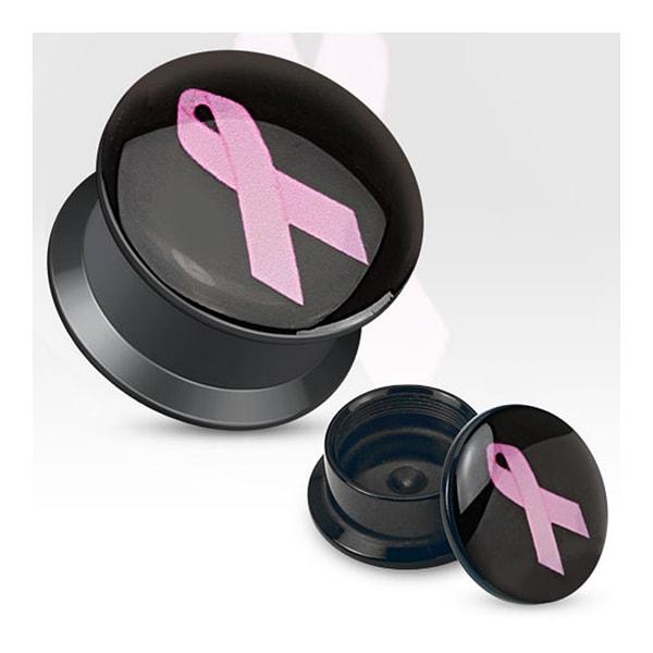 Pink Ribbon Print Black Acrylic Flat Screw Fit Plug (Sold Individually)