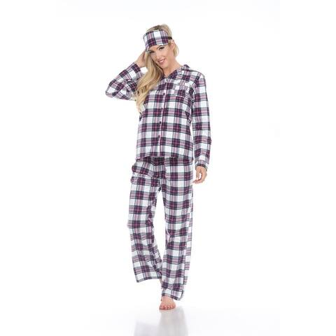 White Mark Women's Three-Piece Pajama Set