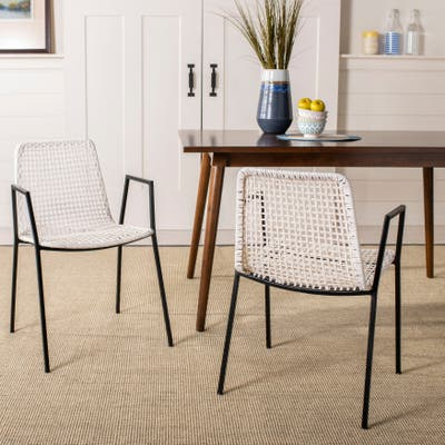 """SAFAVIEH Wynona Woven White Leather Dining Chairs (Set of 2) - 20"""" x 21"""" x 31"""""""