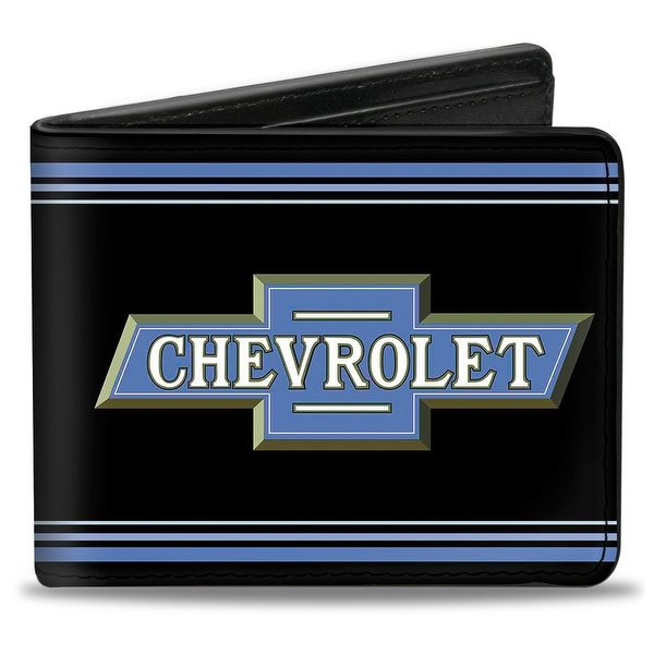1916 Chevrolet Bowtie Logo Stripes Black Blue Bi Fold Wallet - One Size Fits most