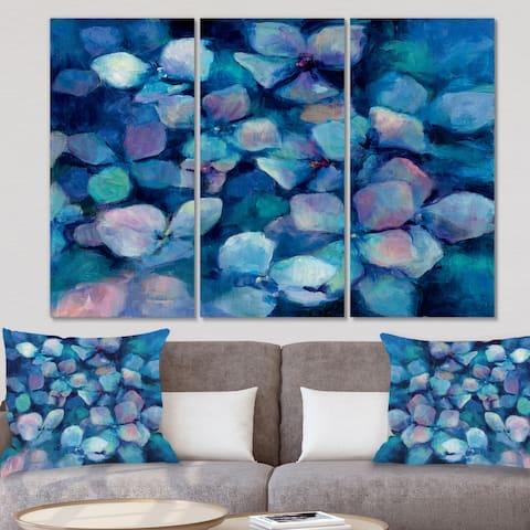 Designart 'Abstract Blue Flower Petals' Traditional Canvas Art